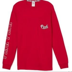 VS Pink Red Pocket Campus T